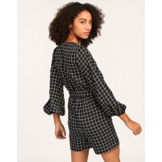 Checked Alan Wrap Knotted Playsuit Regular Checks & Plaid Knots Playsuit IN1805MTOJUMCHK-870 TTSEUHK