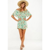 Cotton On Women Woven aubrey off the shoulder playsuit Green CUOLGRW