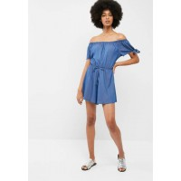 dailyfriday Women Off the shoulder playsuit with sleeve ties Blue QKNZFEH