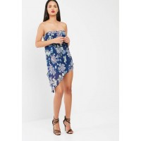 Missguided Women Blue floral crinkle bandeau overlay playsuit Blue ETKDNXG
