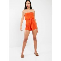 Missguided Women Jersey bandeau playsuit Orange FPXHLRV