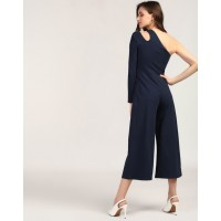 Navy Blue Off-Shoulder Jumpsuit Skinny Blue One Shoulder Cotton Jumpsuit IN1801MTOJUMBLU-756 APPNBOF