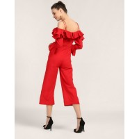 Red Agnes Ruffled Jumpsuit Regular Red Ruffle Jumpsuit IN1749MTOJUMRED-215 WQPKVKJ