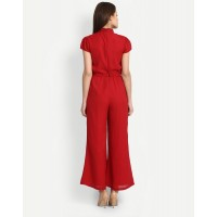 Red Andra Jumpsuit Wide Leg & Flare Red Knots Jumpsuit IN1701MTOJUMRED-105 YGDWAXH