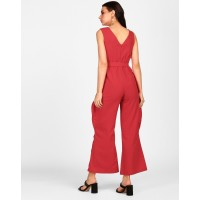 Red Heidi Eyelet Detail Knotted Jumpsuit Wide Leg & Flare Red Knots Georgette Jumpsuit IN1820MTOJUMRED-299 QNOKMXS
