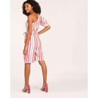 Striped Delphine One Shoulder Knotted Playsuit Striped Knots Cotton Playsuit IN1805MTOJUMSTI-866 ZULUONI