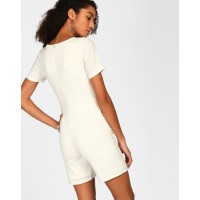 White Molly Pom Pom Detail Playsuit Regular White Georgette Playsuit IN1809MTOJUMWHT-112 IGPDWVH