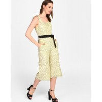 Yellow Claudia Knotted Lace Jumpsuit Regular Lace Jumpsuit IN1819MTOJUMYLW-186 WGQPOBY
