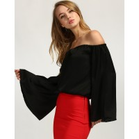 Bazely Top Straight Black Off Shoulder Satin Casual Top IN1646MTOTOPBLA-101 SCSPCAE