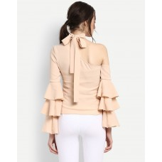 Beige One Shoulder Lenny Top Regular IN1706MTOTOPPCH-750 SWVCTHX