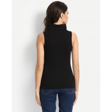 Black Anise Sleeveless Sweat Regular Black Off Shoulder Cotton Sweatshirt IN1648MTOSWEBLA-306 QTLPNGN