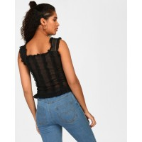 Black Ariana Ruched Top Skinny Black Ruffle Casual Top IN1811MTOTOPBLA-204 GMDHWKC