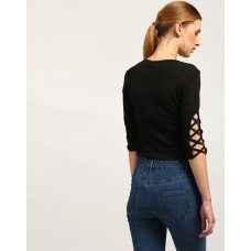 Black Brogue Cut Out Top Skinny Black Cutout Casual Top IN1746MTOTOPBLA-629 YWPFOGH