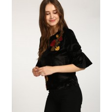 Black Danny Embroidered Top Regular Black Bell Sleeves Casual Top IN1733MTOTOPBLA-410 BIGFDGZ