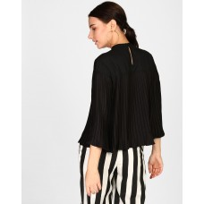 Black Denzil Pleated Bell Sleeve Top Regular Black Pleated Georgette Casual Top IN1819MTOTOPBLA-104 QHCIDFE