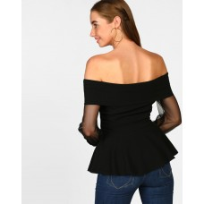 Black Evanna Sheer Off Shoulder Top Skinny Black Georgette Casual Top IN1823MTOTOPBLA-540 YBTSJUE