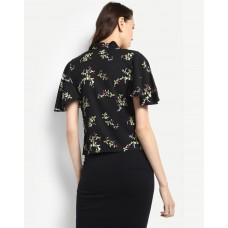 Black Floral Nadine Top Regular IN1725MTOTOPMLT-904 WXQOCQS