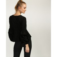 Black Jill Ruffled Blouse Regular IN1735MTOTOPBLA-787 JORZGTS