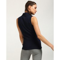 Blue Anise High Neck Sleeveless Top Skinny Blue Casual Top IN1733MTOTOPBLU-279 YEQZCXB