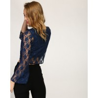 Blue Cass Lace Bell Sleeve Crop Top Regular Lace Casual Top IN1734MTOTOPBLU-492 LYNQMML