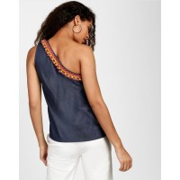 Blue Denim Battista Tassel Detail Top Regular Blue Denim Casual Top IN1807MTOTOPBLU-820 DVHFNGF