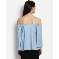 Blue Flair Top Cold Shoulder Top IN1705MTOTOPBLU-197 WRQQEMA