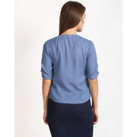 Blue Gallic Top Straight Blue Ruffle Casual Top IN1632MTOTOPBLU-504 MZRMTAP