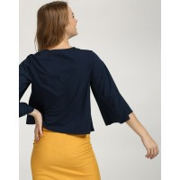 Blue Gonzalo Knotted Bell Sleeve Top Regular Blue Bell Sleeves Casual Top IN1737MTOTOPNVY-156 ERHQAGS