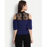 Blue Mauree Top Regular Lace Cold Shoulder Lace Casual Top IN1704MTOSHTBLU-128 ZKIGBEF