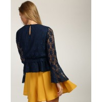 Blue Mila Bell Sleeved Lace Peplum Top Regular Blue Lace Casual Top IN1741MTOTOPBLU-601 GGJYIVH