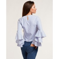 Blue Stripes Lucie Ruffles Blouse Regular Striped Bell Sleeves Cotton Blouse IN1727MTOTOPMLT-144 JEKOYKF
