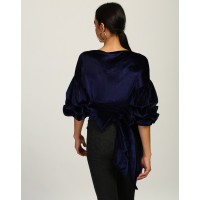 Blue Vista Knotted Wrap Around Velvet Party Top Regular IN1744MTOTOPBLU-394 RTUNVYL