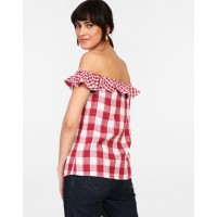Checkered Kylie Ruffle Detail Off Shoulder Top Regular Checks & Plaid Ruffle Cotton Casual Top IN1821MTOTOPMLT-220 NTVHLII
