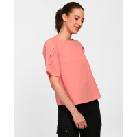 Coral Marian Button Detail Top Relaxed Coral Casual Top IN1820MTOTOPCRL-317 CXKREQK