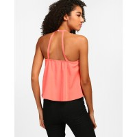 Coral Sienna Choker Neck Top A-Line Coral Casual Top IN1808MTOTOPCRL-910 CZHTOYI