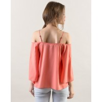 Flair Top A-Line Coral Cold Shoulder Casual Top IN1611MTOTOPCRL-186 MXLNHGT