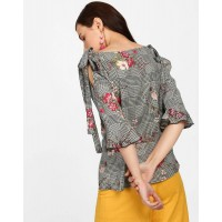 Floral Check Sheryl Knotted Blouse Regular Floral Cutout Georgette Casual Top IN1822MTOTOPFLR-283 SBHYDDK