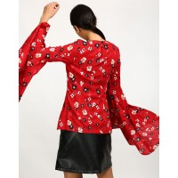 Floral Lidia Bell Sleeved Top Regular Floral Bell Sleeves Casual Top IN1741MTOTOPMLT-740 FWQBCWB