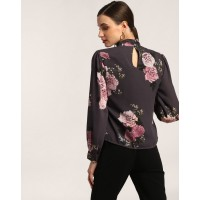Floral Printed Emily Cut Out Top Regular Floral Cutout Georgette Casual Top IN1802MTOTOPFLR-569 OISKEXO