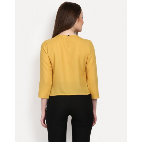 Gather Top Relaxed Mustard Pleated Casual Top IN1552MTOTOPYLW-144 ZANYAVN