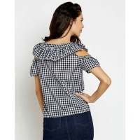 Gingham Evette Ruffle Cold Shoulder Top Checks & Plaid Cold Shoulder Cotton Casual Top IN1728MTOTOPMLT-320 OHLHLCI