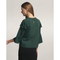 Green Cassia Ruffled Detail Top Regular Green Ruffle Casual Top IN1749MTOTOPGRN-180 CNUQEOZ