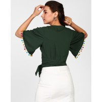 Green Raven Pom Pom Detail Knotted Top Regular Green Casual Top IN1818MTOTOPGRN-116 CJQLBFF