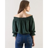 Green Wanda Top Regular Olive Off Shoulder Casual Top IN1607MTOTOPGRN-122 SYYOHSX