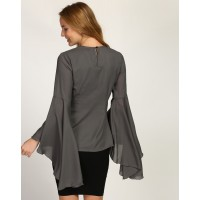 Grey Bethany Bell Sleeve Top Regular Grey Bell Sleeves Georgette Casual Top IN1735MTOTOPGRY-611 RIUCTBR