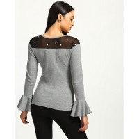 Grey Lester Pearl Bell Sleeved Sheer Top Skinny Grey Cotton Casual Top IN1738MTOTOPGRY-319 ESEKMCT