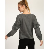 Grey Lindsay Ruffled Top Regular Grey Ruffle Cotton Casual Top IN1735MTOTOPGRY-575 FWCDRJC