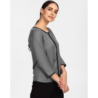 Grey Skeeta Blouse Straight Grey Georgette Blouse IN1716MTOTOPGRY-122 IVDBUJQ