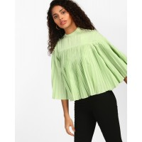 Lime Denzil Pleated Bell Sleeved Top Relaxed Green Pleated Casual Top IN1810MTOTOPGRN-643 MASSJAC