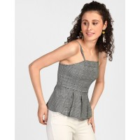 Monochrome Checkered Sophie Pleated Peplum Top Skinny Checks & Plaid Pleated Casual Top IN1813MTOTOPCHK-149 KPOMDDR